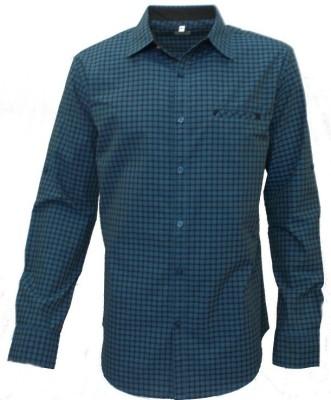 Darium Men's Checkered Casual Blue, Black Shirt