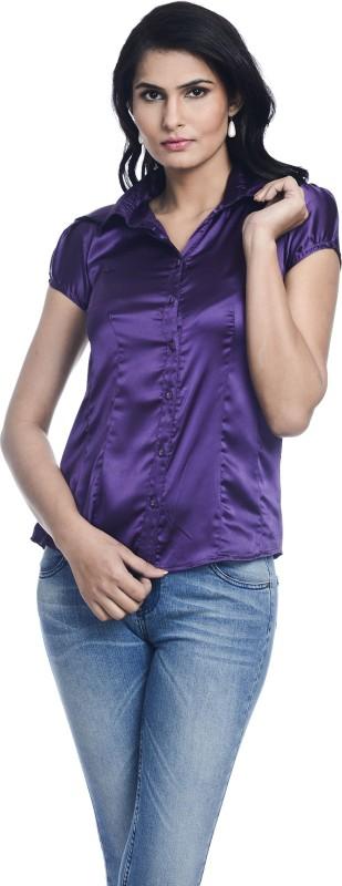 Kaaya Women's Solid Casual Purple Shirt