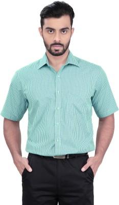 Zeal Men's Checkered Formal Light Blue, Blue Shirt