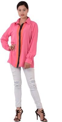 Fashnopolism Women's Solid Casual Pink Shirt