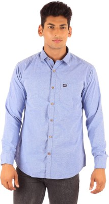 FA French America Men's Solid Casual Blue Shirt