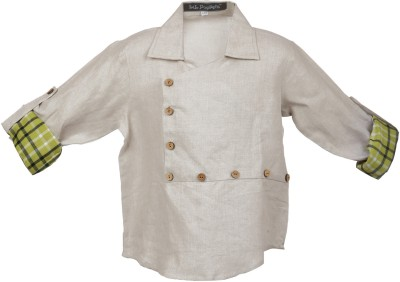 Lil Poppets Boy's Solid Casual Linen Beige Shirt