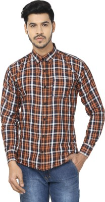 Trewfin Men's Checkered Casual White, Orange Shirt