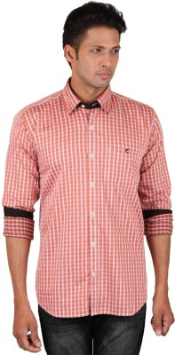 Dave Men's Checkered Casual Orange Shirt