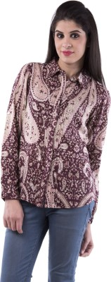 Aarr Women,s Paisley Casual Brown Shirt