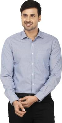 Wills Lifestyle Men's Striped Formal Blue, White Shirt