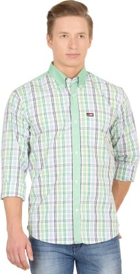 Union Street Men's Checkered Casual White, Green, Blue Shirt