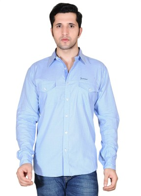 Denimize Men's Checkered Casual Blue Shirt