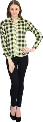 kellan Women's Checkered Casual Green Shirt