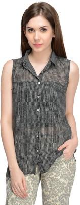 Nangalia Ruchira Women's Printed Casual Black Shirt