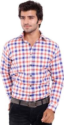 Deeksha Men's Checkered Casual White Shirt