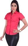 Qbee Women's Solid Casual Pink Shirt