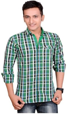 Anry Men's Solid Casual Green Shirt