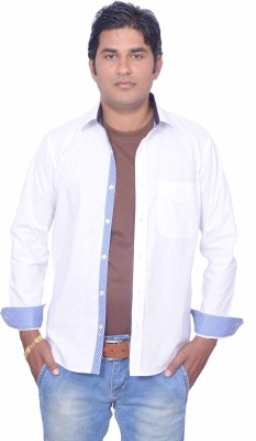 LEAF Men's Solid Casual White, Blue Shirt