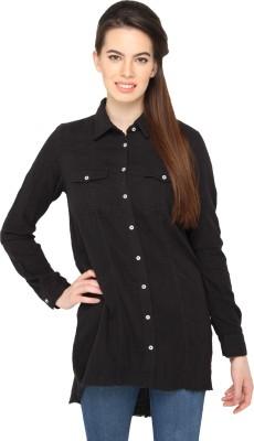 Ten on Ten Women's Solid Casual Black Shirt