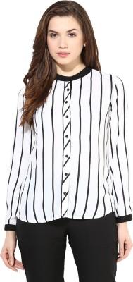 Martini Women's Striped Formal White, Black Shirt