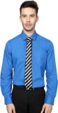 People Men's Solid Formal Blue Shirt