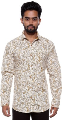 FIFTY TWO Men's Printed Casual Beige Shirt