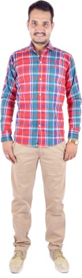 Shahanshah Enterprises Men's Checkered Casual Red Shirt