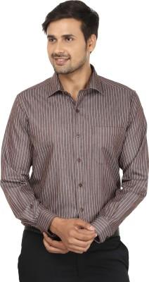 John Players Men's Striped Formal Brown, Beige Shirt