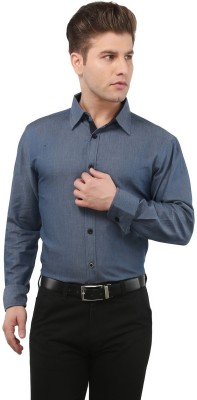 The Cotton Company Men's Solid Casual, Formal, Party, Festive, Wedding Blue Shirt