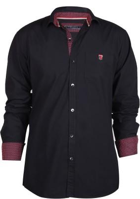 Hash Luxury Men's Solid Party Black Shirt
