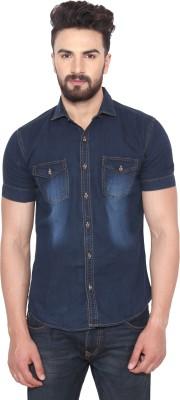 Swiss Culture Men's Solid Casual Denim Dark Blue Shirt