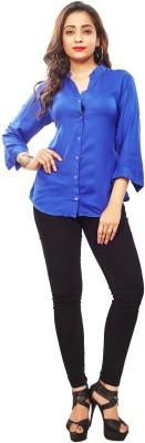 Reinvent Women's Self Design Casual Blue Shirt