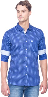 Shield & Sword Men,s Printed Casual Dark Blue Shirt
