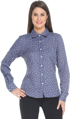The Cotton Company Women's Printed Casual Blue Shirt