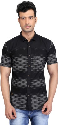 Glabrous Men,s Striped Casual Black Shirt