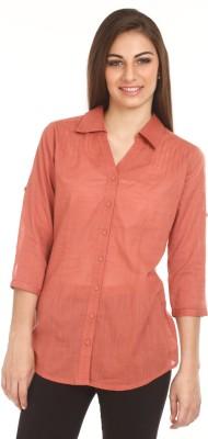 Mustard Women's Solid Casual Pink Shirt