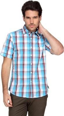 Denimlab Men's Checkered Casual White, Blue Shirt