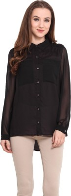 Blue Sequin Women's Solid Casual Black Shirt