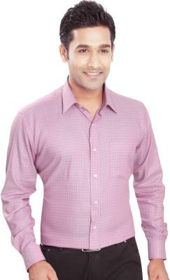 Boonplush Men's Checkered Formal Pink Shirt
