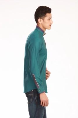 Jogur Men's Solid Party Green Shirt