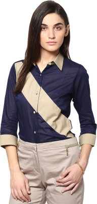 Dazzio Womens Solid Formal Blue, Beige Shirt