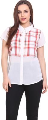 Blink Women's Checkered Casual White, Orange Shirt