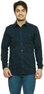 99 Hunts Men's Solid Casual Black Shirt