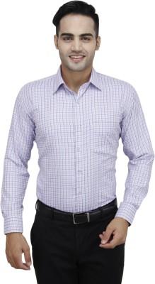Da Vinci Men's Checkered Formal Pink Shirt