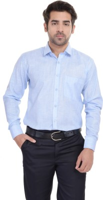 Blue Bird Men's Self Design Formal Linen Light Blue Shirt