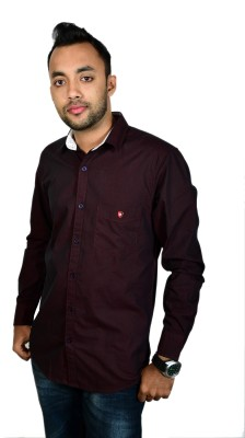 Leaf Star Men's Solid Casual Maroon Shirt