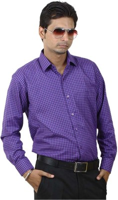 SIERA Men's Checkered Formal Blue, Purple Shirt