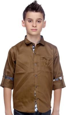 Mash Up Boy's Solid Casual Linen Beige Shirt