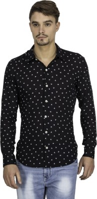 Mayank Modi Men's Printed Casual Black Shirt