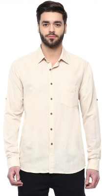 Cairon Men's Solid Casual Beige Shirt