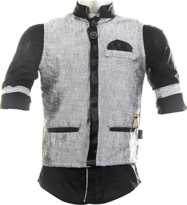Fingerchips Boys Solid Party, Wedding Grey, Black Shirt