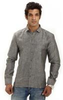 Variancevesture Formal Shirts (Men's) - VarianceVesture Men's Striped Formal Linen Grey Shirt
