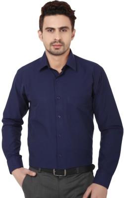 Shine Shirts Men's Solid Formal Dark Blue Shirt