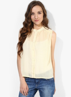Only Womens Printed Casual Beige Shirt